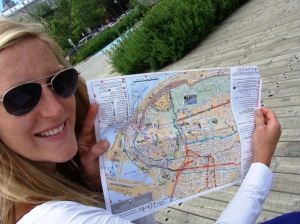 Upside down map of Quebec City